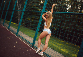 women, tanned, ass, blonde, sneakers, sportswear, women outdoors, short sho ...