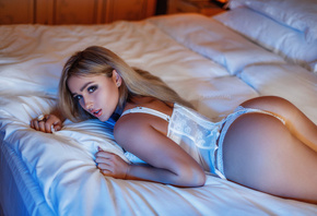 women, blonde, ass, in bed, tanned, lying on front, white lingerie