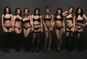 Rosie Jones, Emma Glover, Holly Peers, Lucy Collett, Stacey Poole, black lingerie