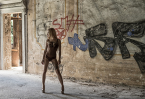 women, blonde, tanned, belly, tattoo, wall, high heels, looking away, lingerie, abandoned, graffiti