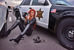 women, Dana Bounty, high heels, leather jackets, redhead, long hair, gun, p ...