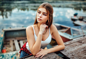 women, boat, portrait, depth of field, women outdoors, necklace