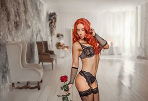 women, redhead, tanned, black lingerie, portrait, rose, belly, tattoo, closed eyes, garter belt