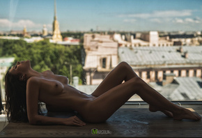 women, nude, tanned, belly, boobs, nipples, closed eyes, depth of field, Al ...
