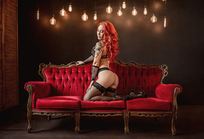women, redhead, couch, kneeling, high heels, tattoo, light bulb, ass, black lingerie