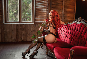 women, sitting, tattoo, redhead, ass, window, couch, black lingerie, rose, brunette, high heels