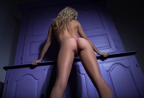 purple, wall, back, lingerie, girl