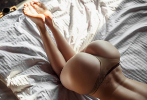 women, ass, brunette, panties, back dimples, in bed