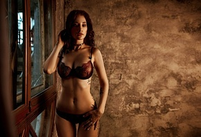 women, tanned, belly, tattoo, choker, hips, the gap, lingerie, portrait, see-through clothing