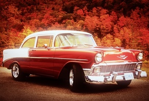 Chevrolet, bel air, red, cars