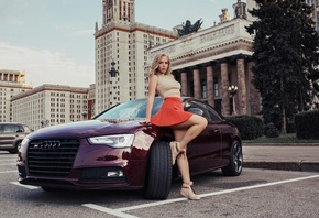 women, blonde, skirt, shoes, brunette, car, women outdoors, nipple through clothing