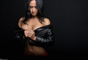 women, tanned, belly, boobs, red panties, leather jackets, black background, pierced nose, portrait