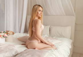 women, blonde, lingerie, brunette, in bed, kneeling, ass, long hair, pillow, looking away