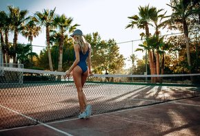 women, blonde, ass, baseball caps, monokinis, sneakers, tanned, palm trees, women outdoors, back