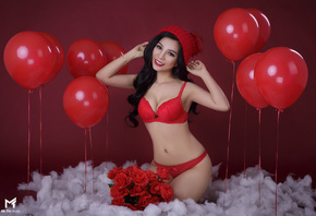 women, Asian, belly, pierced navel, balloon, rose, flowers, red background, red lingerie, red lipstick, kneeling, smiling, black hair