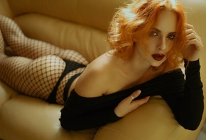 women, redhead, red lipstick, couch, ass, lying on front, black panties, fi ...