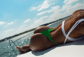 women, Alex Bazilev, ass, tanned, women outdoors, tattoo, back, swimwear, one-piece swimsuit, boat