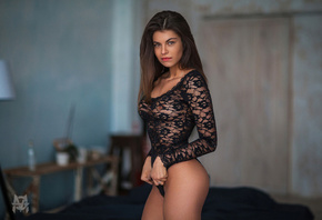 Mihail Gerasimov, women, ass, tanned, black lingerie, see-through clothing, ...