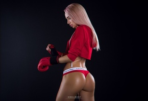 women, portrait, dyed hair, ass, tanned, simple background, red panties, boxing gloves, Calvin Klein, blonde