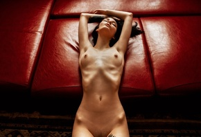 women, nude, skinny, ribs, lying on back, belly, boobs, nipples, tattoo, cl ...