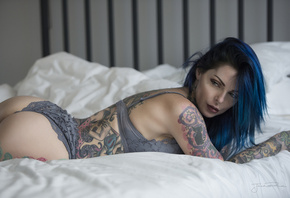 women, Jack Russell, in bed, ass, tattoo, brunette, lingerie, blue hair, dyed hair, nose rings, piercing, looking away
