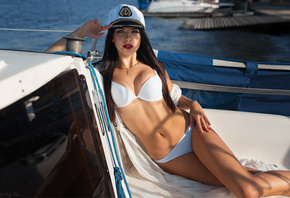 women, red lipstick, white bikini, belly, painted nails, necklace, brunette, water, boat, portrait, sitting, women outdoors