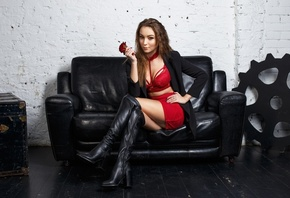 women, knee-high boots, sitting, Maksim Romanov, red skirt, portrait, brunette, red clothing, rose, painted nails
