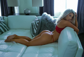 women, tanned, ass, red lingerie, arched back, blue eyes, Laci Kay Somers