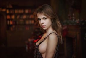 women, Alexandra Smelova, Maxim Maximov, blonde, boobs, sideboob, portrait, no bra, depth of field