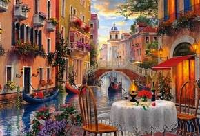 al, venice, scenery, illustration, wide, italy, artwork, art, water, canal, painting, screen