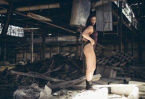 women, ass, shoes, abandoned, monokinis, brunette