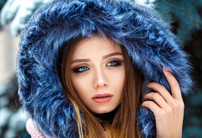 women, hoods, blue eyes, pink nails, Denis Petrov, fur, face, portrait