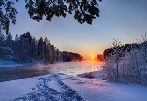 snow, river, зима, landscape, white, sunset, sky, река, scenery, облака, co ...