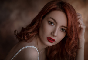 women, face, portrait, Ali Falak, redhead, red lipstick