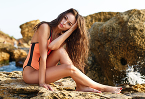 women, tanned, one-piece swimsuit, red nails, rocks, sitting, sea, women outdoors