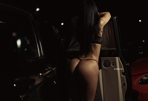 women, ass, Alexander Belavin, back, black lingerie, black hair