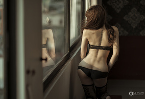 women, Asian, brunette, tattoo, ass, back, black lingerie, window, reflection, Le Thanh