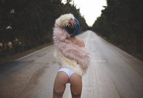 women, fur, road, tattoo, back, white panties, depth of field, women outdoors, brunette, blue hair, dyed hair, ass