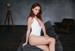 women, redhead, ass, cleavage, monokinis, sitting, brunette, couch, portrait