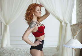 women, redhead, portrait, brunettes, skinny, belly, wall, bricks, tattoo, looking away, hands on hips, pink nails, lingerie