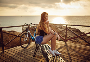 women, blonde, sea, sunset, sneakers, bench, jean shorts, bicycle, sitting, women outdoors, long hair, brunette