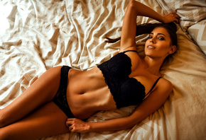 women, Miro Hofmann, tanned, top view, belly, armpits, hips, lying on back, ...