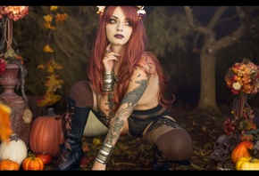 Wallpaper genevieve, model, tattoo, witch, fall, redhead, topless, panties, boots, black panties