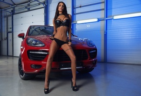 women, Alex Bazilev, tanned, women with cars, black lingerie, high heels, holding panties, belly, tattoo
