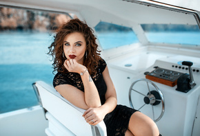 women, Alessandro Di Cicco, portrait, tattoo, red lipstick, black dress, sitting, yachts, boat, wavy hair
