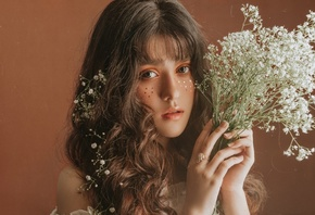 flowers, look, sequins, portrait, makeup, face, hair