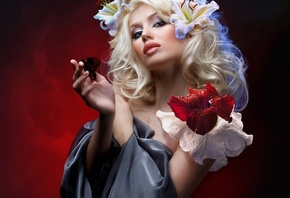 butterfly, makeup, hairstyle, white, beauty, blonde, red, background, Lily, flowers, pose