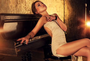pose, sexy, piano, figure, piano, brown hair, legs, hairstyle, beautiful, g ...