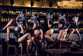 women, bar, ass, black lingerie, body lingerie, helmet, high heels, sitting, kneeling, leotard, bottles, red lipstick, blonde