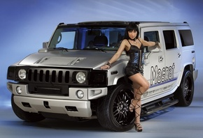 Hummer, Girls, auto, background, girl, look